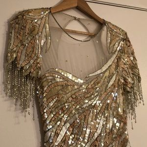 Casadei Vintage Beaded Fringe Mesh Dress SZ 8